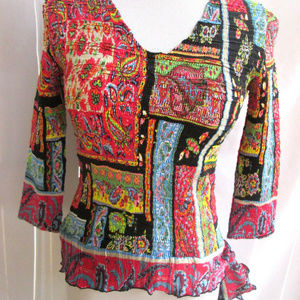 Alberto Makali Blouse Multi Color Crinkle V neck